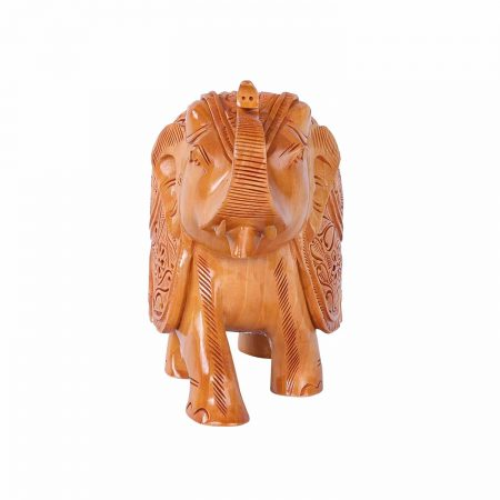 WHITE WOOD CARVED ELEPHANT TRUNK UP
