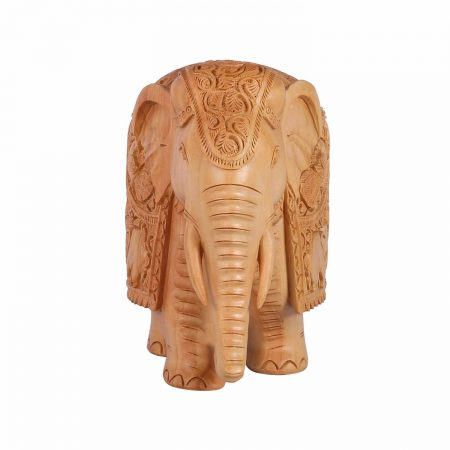 WHITE WOOD  CARVED ELEPHANT TRUNK DOWN