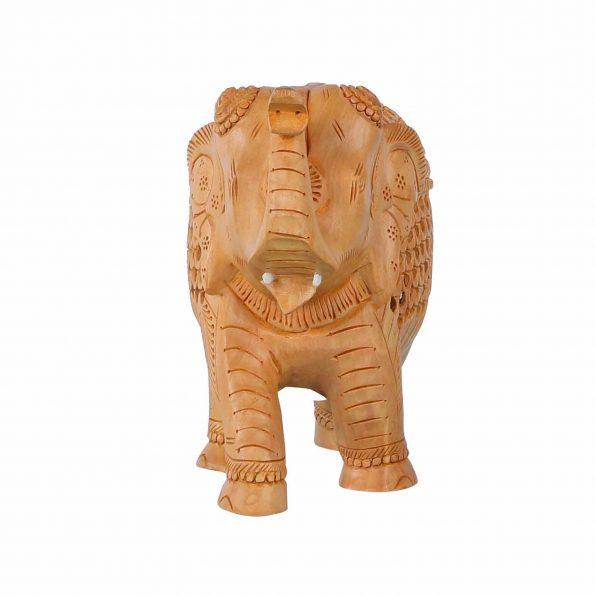 WHITE WOOD CUT WORK ELEPHANT TRUNK UP
