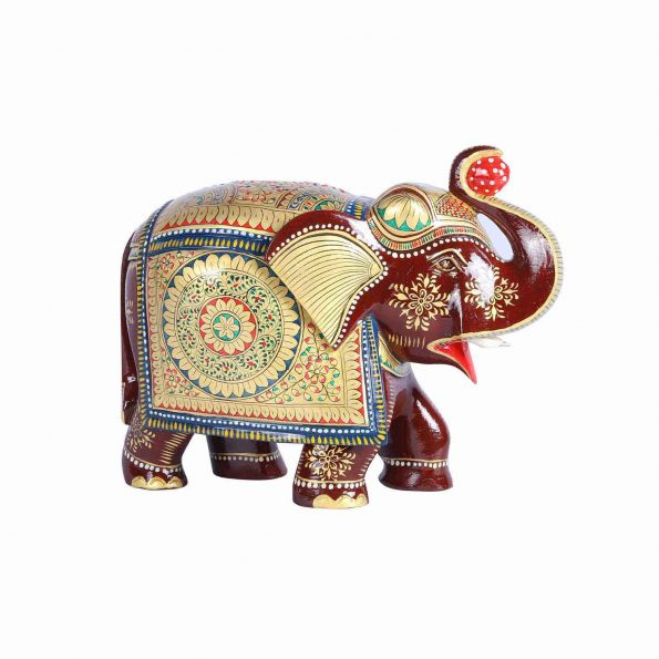 WOODEN WITH GOLD PAINTED ELEPHANT TRUNK UP