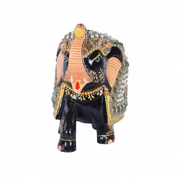 WOODEN  PTD.ELEPHANT WITH MOTI WORK TRUNK UP