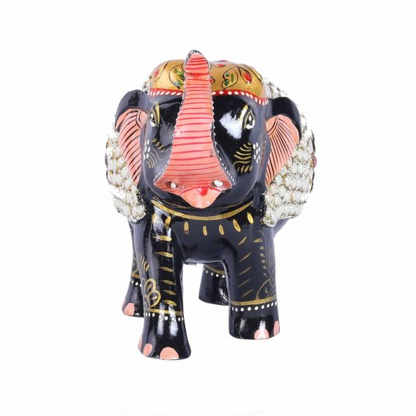 WOODEN PAINTED ELEPHANT WITH BEADS