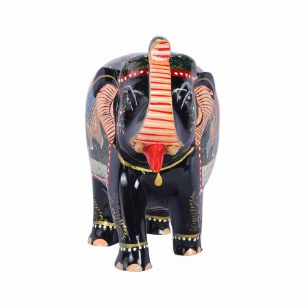 WOODEN PAINTED ELEPHANT TRUNK UP