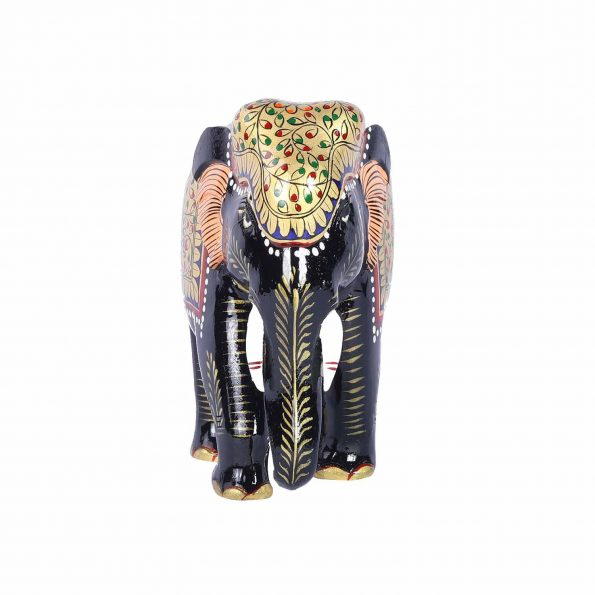 WOODEN  PAINTED ELEPHANT TRUNK DOWN