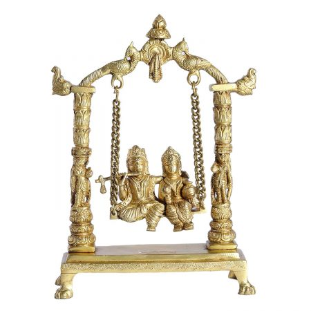 BRASS RADHA KRISHNA WITH JULA
