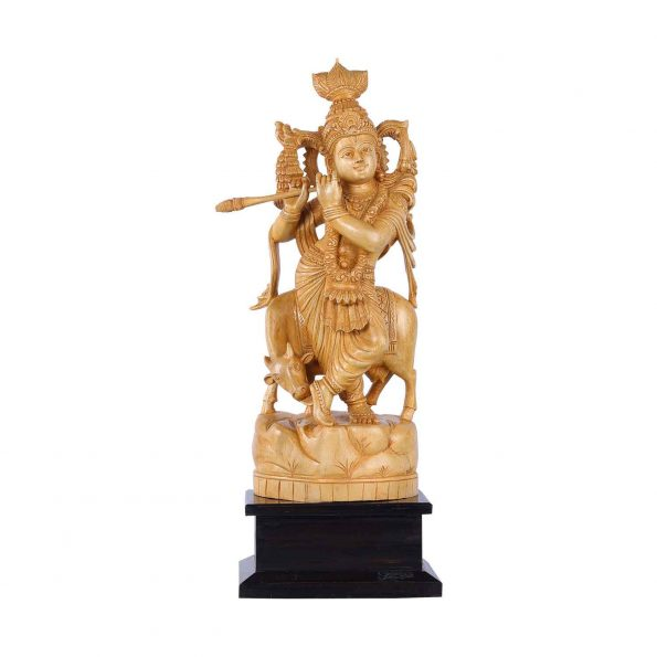 WHITE WOOD COW KRISHNA