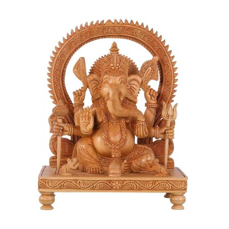 WHITE WOOD GANESH ARCH WITH BASE
