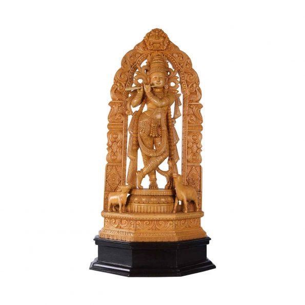 WHITE WOOD  KRISHNA WITH ARCH