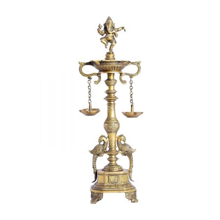BRASS OIL LAMP WITH GANESH